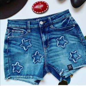 High Waisted Stars Denim Shorts NWT